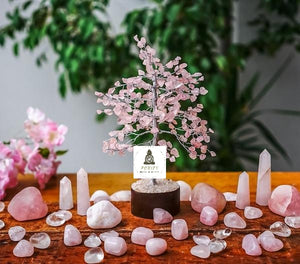 Rose Quartz Tree Small Silver