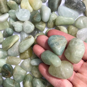 Aquamarine Tumbled Stone, Small & Large