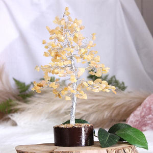 Yellow Aventurine Tree Medium Silver