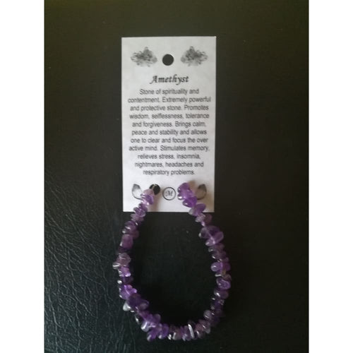 Amethyst Chip Bracelet On Wire With Clasp And Card - Crystal Healing Bracelet