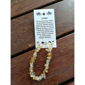 Citrine chip bracelet on wire with clasp and card - crystal healing bracelet