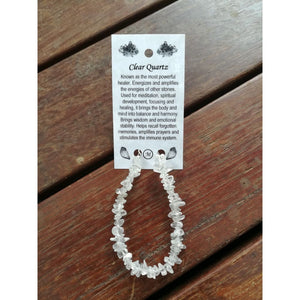 Clear Quartz Chip Bracelet On Wire With Clasp And Card
