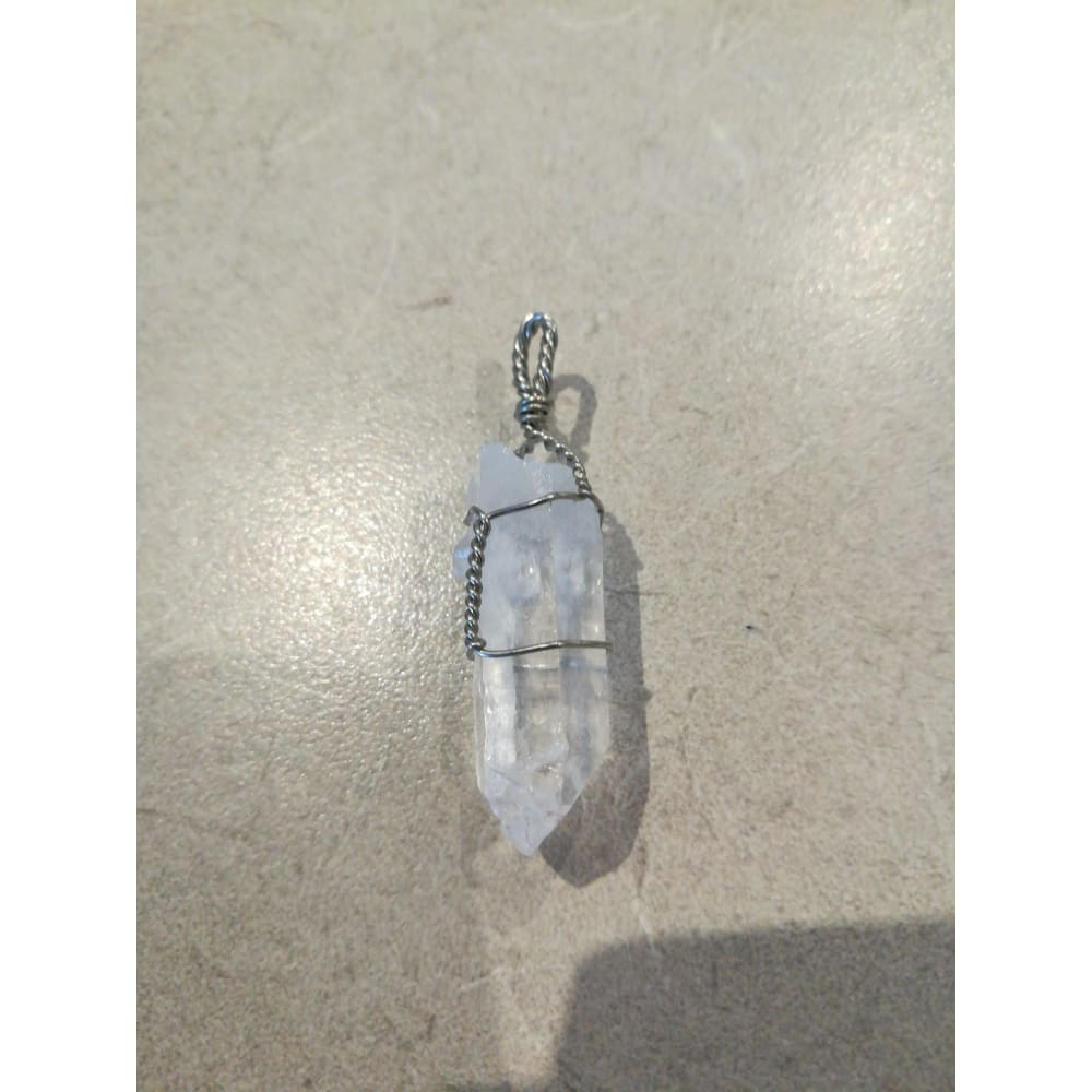 Clear Quartz Wire Wrapped Double Terminated Point Pendant