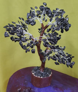 Black Agate Tree - Large Brown Silver