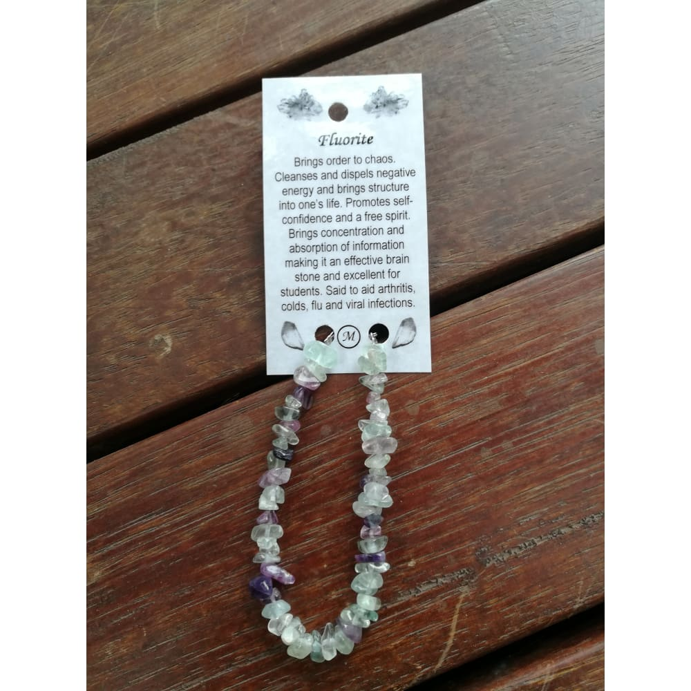 Fluorite chip bracelet on wire with clasp and card - crystal healing bracelet