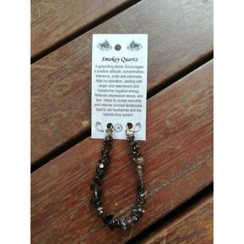 Smokey Quartz chip bracelet on wire with clasp and card