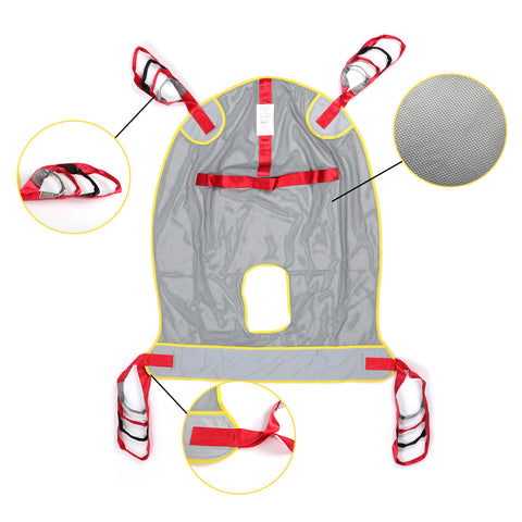 Full body patient lift sling with common mode cutout