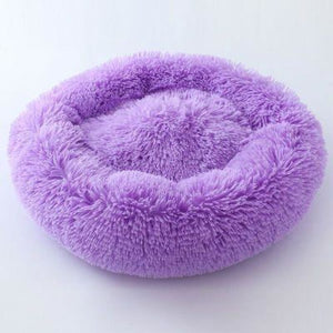 Macaron Round Dog Bed - Purple / L