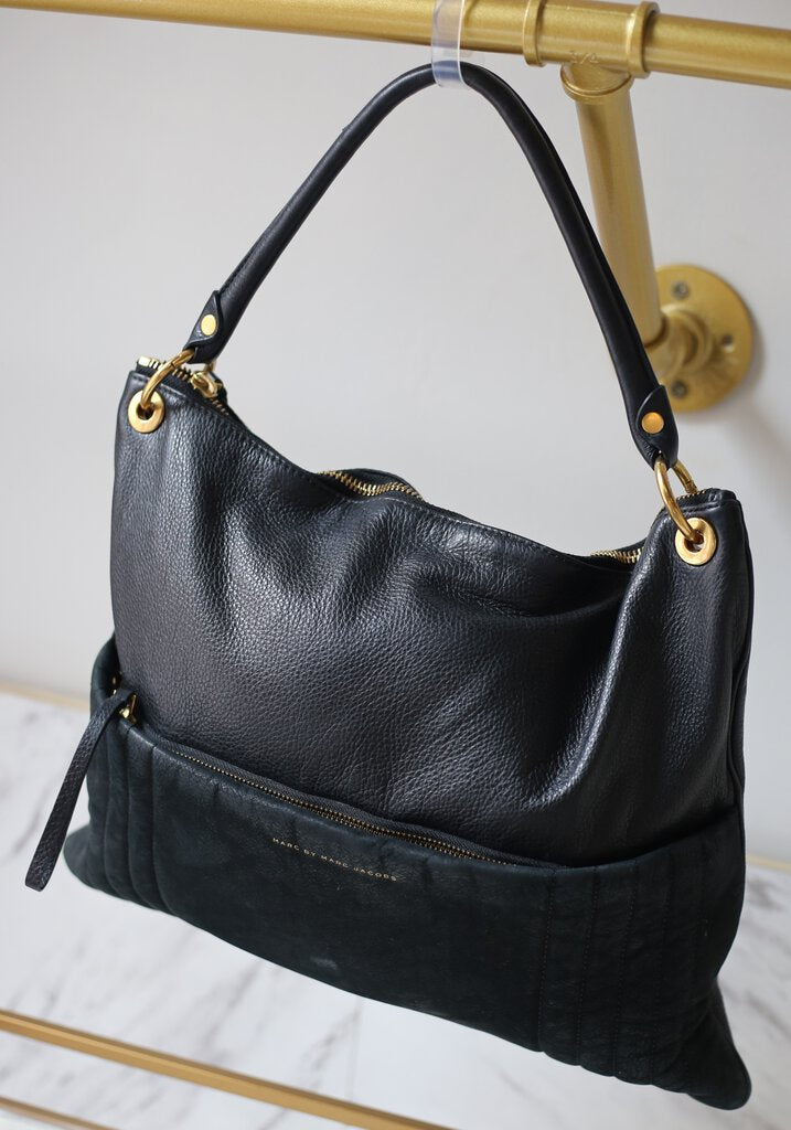 Tread Lightly Black Leather/Suede Hobo Bag with Crossbody Strap