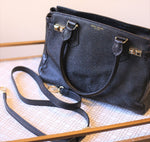 Black Pebbled Leather Handbag with Cross Body Strap