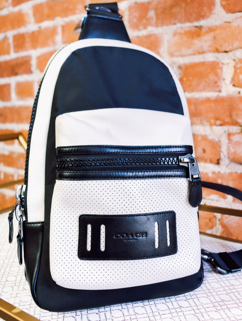 "COACH Blush/Black Leather + Canvas ""Academy"" One Strap Backpack"