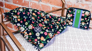 TORY BURCH Black and Multi-Color Floral Scarf