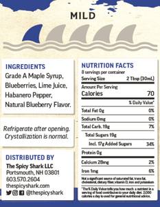 Blue Shark Hot Blueberry Maple Syrup (8oz, Mild Heat) - $1 goes to the Shark Stewards to support ending Shark Finning