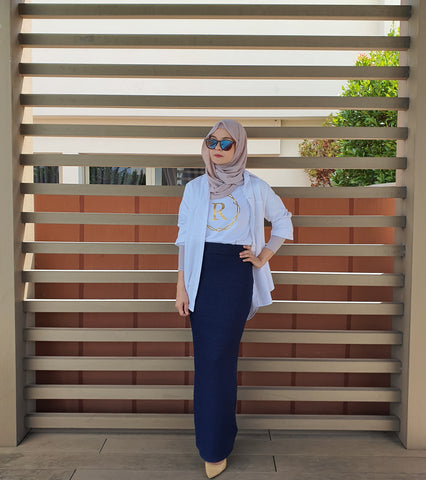 Knited Pencil Skirt (Navy)