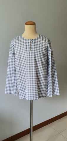 Boys Anas Kurta in Checkered Ash