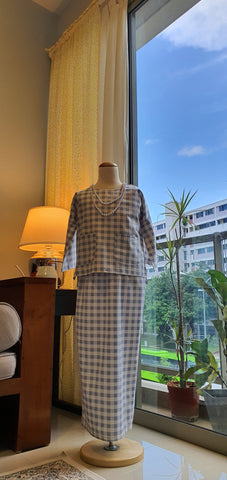Girls Ayu Kurung Kedah in Ash Checkered