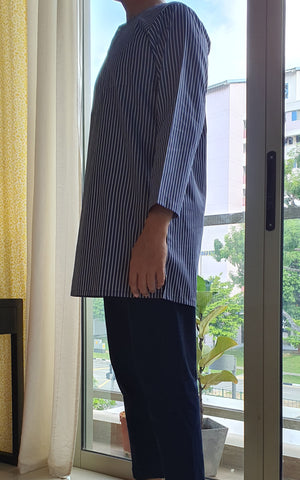 Men's Anas Kurta in Navy Stripe