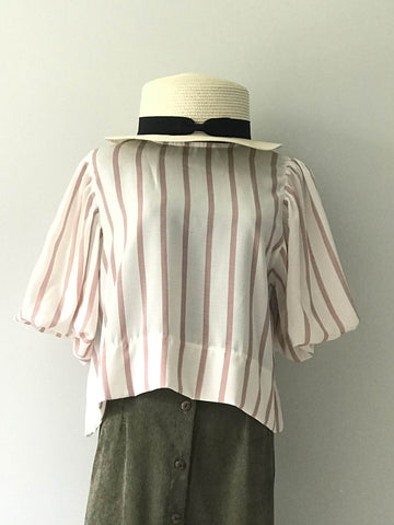 Sara Stripe Blouse in Pink