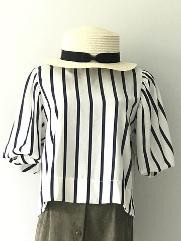 Sara Stripe Blouse in Navy
