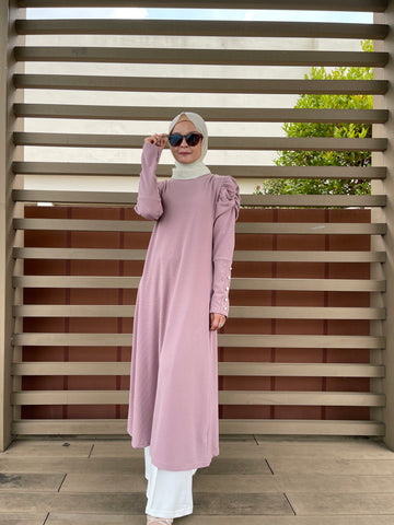 Amy Puff Sleeve Midi Dress in Pink (NEW!)