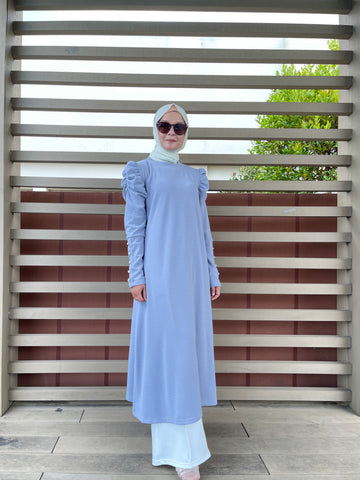 Amy Puff Sleeve Midi Dress in Baby Blue (NEW!)