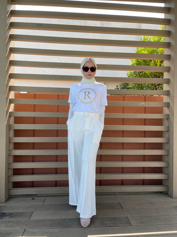 Bella Belted Palazzo Pants in White (New)