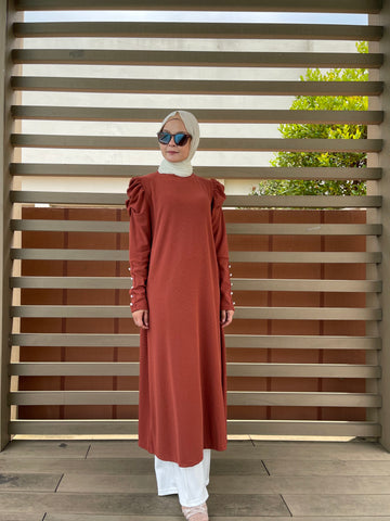 Amy Puff Sleeve Midi Dress in Terracotta (NEW!)