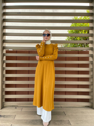 Amy Puff Sleeve Midi Dress in Mustard (NEW!)