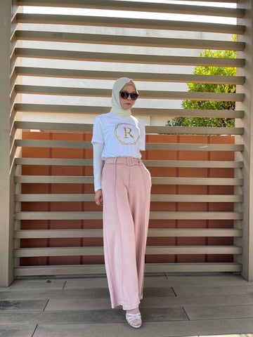 Bella Belted Palazzo Pants in Nude (New)