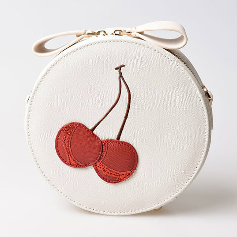 Cherry PU Leather Round Cross-Body Shoulder Bag
