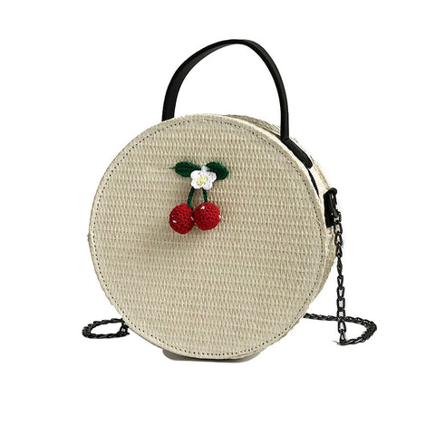 Cherry Straw Round Cross-Body Shoulder Bag (White, Khaki)