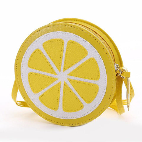 Lemon PU Leather Round Cross-Body Shoulder Bag