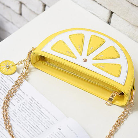 Lemon PU Leather Semi-Circle Cross-Body Shoulder Bag
