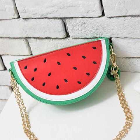 Watermelon PU Leather Semi-Circle Cross-Body Shoulder Bag