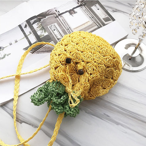 Pineapple Straw Paper Rattan Drawstring Cross-Body Shoulder Bag