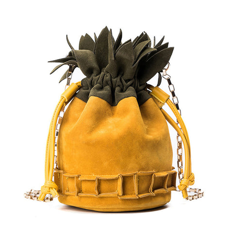 Pineapple Velvet Drawstring Cross-Body Shoulder Bag