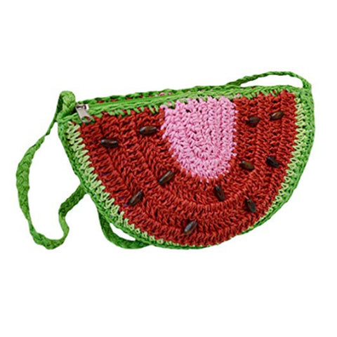 Watermelon Semi-Circle Straw Cross-Body Shoulder Bag