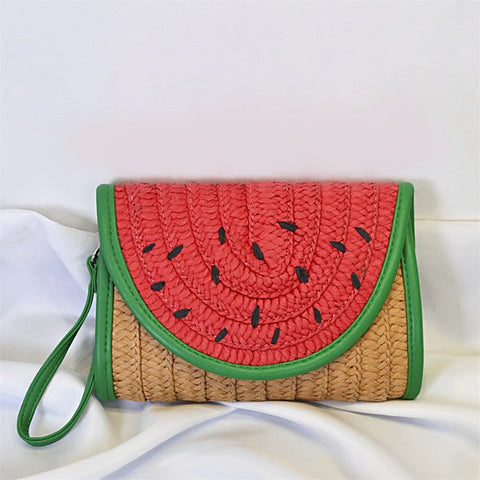 Watermelon Straw Weave Wristlet Clutch Bag