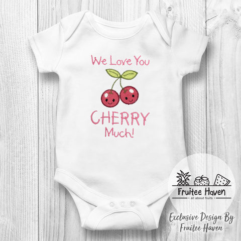 Cherry Quote Embroidery Baby Romper
