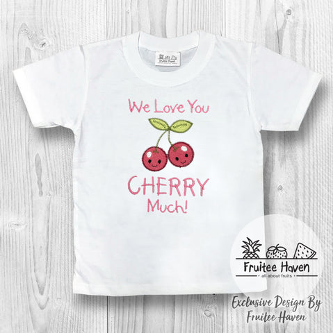 Cherry Quote Embroidery Kids Tee Shirt