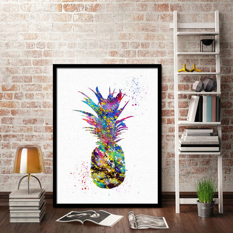Colourful Pineapple Art On Framed Canvas