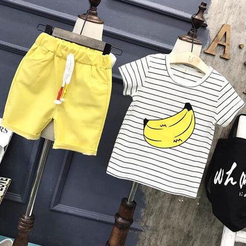 Banana Print Short Sleeve T-Shirt & Pants Set (Stripes)