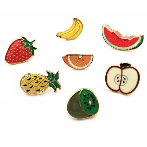 7 Pc Fruit Series Alloy Enamel Oil Drop Brooch Pin Set