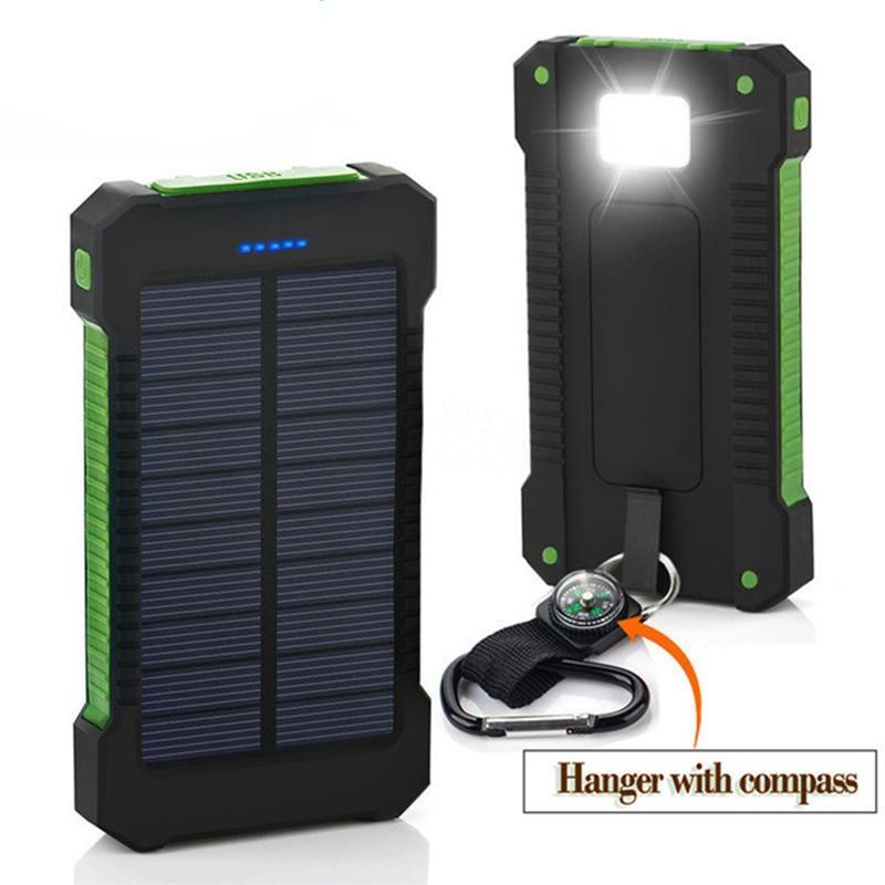 Solar Powered External Charger - Waterproof, 2 USB Ports with LED Light