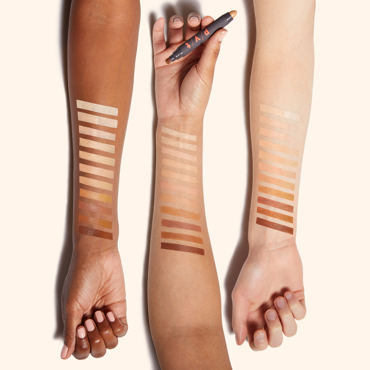 several shades of concealer to match a variety of skin colors
