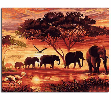 Elephants Vinci™ Paint-By-Number Kit