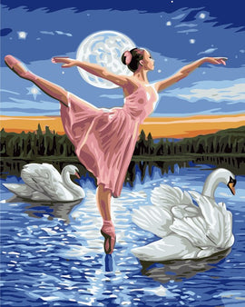 Lady in Swan Lake - Vinci Paint-By-Number Kit