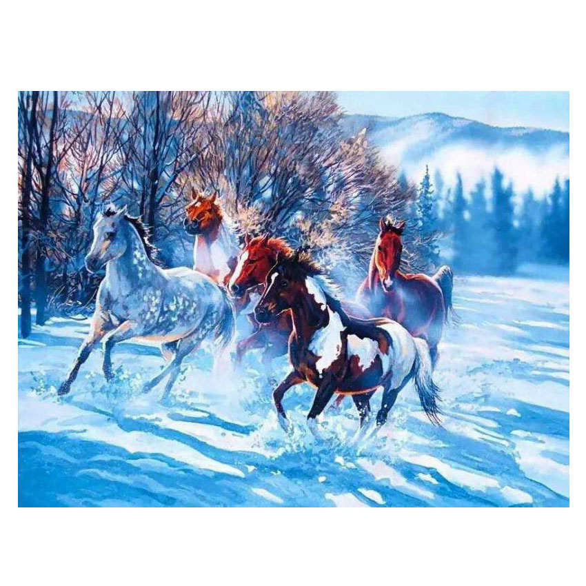 Winter Wild Horses - Vinci Paint-By-Number Kit