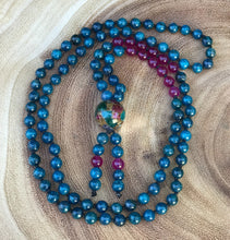 Beaded Mala Necklace – Blue Apatite Mala Necklace 108 bead - Makes Ideal Meditation Gift