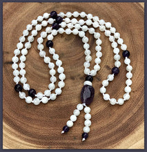 Beaded Mala Necklace - White Moonstone with Amethyst spacers - 108 Bead